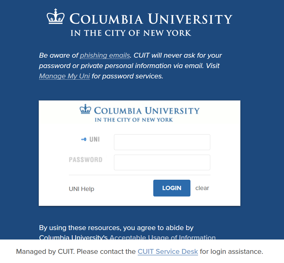 Columbia Authentication System (CAS) Login